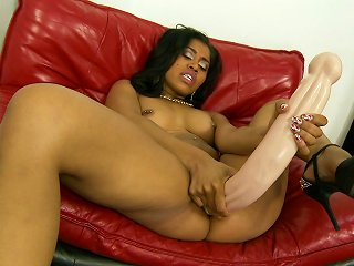 Lonely Ebony Chick Testing Which Dildo Fits Her Pussy Best
