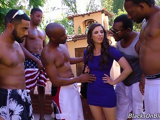 A Group Of Black Dudes Gangbang A White Girl And Jizz All Over Her